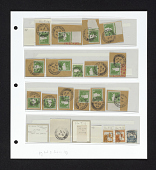 view Rehovot canceled postage stamps and cut corners on album page digital asset number 1