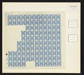 view 5m on 1pi Palestine Blue overprint partial sheet of one hundred four digital asset number 1