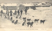 view Photograph of postcard with mail team leaving Circle City for Ft. Gibson, Alaska digital asset number 1