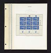 view 5p Immigration by ship reconstructed sheet of stamps on album page digital asset number 1