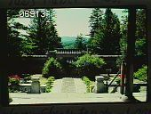 view [Naumkeag]: looking from the temple in the Chinese Garden toward the entrance lodge. digital asset: [Naumkeag]: looking from the temple in the Chinese Garden toward the entrance lodge.: 1984 Aug.