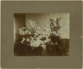 view Funerary floral arrangement photographic print: 'Father' funeral floral arrangement atop casket in parlor; lyre floral frame digital asset number 1