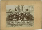 view Funerary floral arrangement photographic print: graveside floral arrangement; gates ajar floral frame digital asset number 1