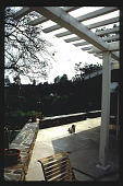view [Untitled Garden in Pasadena, California]: pergola detail at raised terrace with low seat wall edge. digital asset: [Untitled Garden in Pasadena, California] [slide]: pergola detail at raised terrace with low seat wall edge.