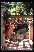 view [Untitled Garden in Hollywood, California]: outdoor terrace with brick and concrete patterned paving. digital asset: [Untitled Garden in Hollywood, California] [slide]: outdoor terrace with brick and concrete patterned paving.