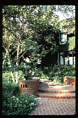view [Untitled Garden in Los Angeles, California]: front brick entrance. digital asset: [Untitled Garden in Los Angeles, California] [slide]: front brick entrance.
