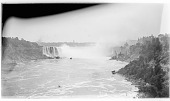 view [Niagara Falls]: the Canadian or Horseshoe Falls, seen from the bridge connecting Canada and the United States. digital asset: [Niagara Falls] [glass negative]: the Canadian or Horseshoe Falls, seen from the bridge connecting Canada and the United States.