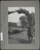 view [Elizabeth Park]: an arbor with lawn, flower beds or borders, and a house beyond. digital asset: [Elizabeth Park] [photographic print]: an arbor with lawn, flower beds or borders, and a house beyond.