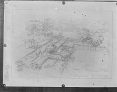 view Thomas Warren Sears photograph collection digital asset: [Hodgens Garden] [glass negative]: perspective drawing of formal garden areas near the house, with the tennis court on the right.