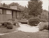 view [Miles Garden]: deck of house and part of Japanese garden. digital asset: [Miles Garden] [safety film negative and photographic print]: deck of house and part of Japanese garden.