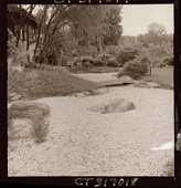 view [Miles Garden]: portion of garden, showing use of gravel to create dry stream. digital asset: [Miles Garden] [safety film negative and photographic print]: portion of garden, showing use of gravel to create dry stream.