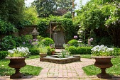 view [Rackley Garden]: classical urns, antique Italian Coade stone covered urns, and a simple stone bowl are some of the features. digital asset: [Rackley Garden]: classical urns, antique Italian Coade stone covered urns, and a simple stone bowl are some of the features.: 2014 May.