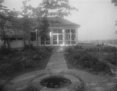 view [Selborne Farms]: lily pond and walk to screened porch. digital asset: [Selborne Farms] [glass negative]: lily pond and walk to screened porch.