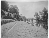 view [Nuneham House and Park]: Nuneham Park Bridge and thatched cottage along the River Thames. digital asset: [Nuneham House and Park] [glass negative]: Nuneham Park Bridge and thatched cottage along the River Thames.