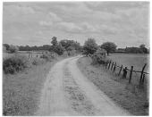 view [Miscellaneous Sites in England, Series 1]: a country lane and farm in an unidentified location. digital asset: [Miscellaneous Sites in England, Series 1] [glass negative]: a country lane and farm in an unidentified location.