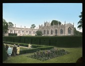 view [Sudeley Castle]: Sudeley Castle, with St. Mary's Church on the right and the Queen's Garden in the foreground. digital asset: [Sudeley Castle]: Sudeley Castle, with St. Mary's Church on the right and the Queen's Garden in the foreground.