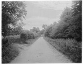 view [Miscellaneous Sites in Shere, Surrey, England, and Vicinity, Series 1]: a country road in an unidentified location, with a house in the background. digital asset: [Miscellaneous Sites in Shere, Surrey, England, and Vicinity, Series 1] [glass negative]: a country road in an unidentified location, with a house in the background.