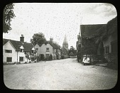 view [Miscellaneous Sites in Shere, Surrey, England, and Vicinity, Series 1]: looking from the Square toward the Church of St. James. digital asset: [Miscellaneous Sites in Shere, Surrey, England, and Vicinity, Series 1] [lantern slide]: looking from the Square toward the Church of St. James.