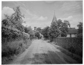 view [Miscellaneous Sites in Shere, Surrey, England, and Vicinity, Series 1]: Trodds Lane in Merrow, Surrey, near Guildford, with the Church of St. John the Evangelist on the right. digital asset: [Miscellaneous Sites in Shere, Surrey, England, and Vicinity, Series 1] [glass negative]: Trodds Lane in Merrow, Surrey, near Guildford, with the Church of St. John the Evangelist on the right.