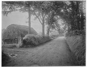 view [Miscellaneous Sites in Shere, Surrey, England, and Vicinity, Series 2]: a haystack and country road in an unidentified location, with the corner of a house barely visible in the background. digital asset: [Miscellaneous Sites in Shere, Surrey, England, and Vicinity, Series 2] [glass negative]: a haystack and country road in an unidentified location, with the corner of a house barely visible in the background.