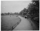 view [Turnham Green]: looking along a walkway on Turnham Green in Chiswick. digital asset: [Turnham Green] [glass negative]: looking along a walkway on Turnham Green in Chiswick.