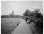 view [Turnham Green]: looking across Turnham Green in Chiswick toward Christ Church. digital asset: [Turnham Green] [glass negative]: looking across Turnham Green in Chiswick toward Christ Church.