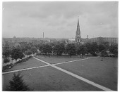 view [Turnham Green]: an aerial view across Turnham Green in Chiswick, with Christ Church in the middle distance. digital asset: [Turnham Green] [glass negative]: an aerial view across Turnham Green in Chiswick, with Christ Church in the middle distance.