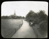 view [Turnham Green]: looking across Turnham Green in Chiswick toward Christ Church. digital asset: [Turnham Green] [lantern slide]: looking across Turnham Green in Chiswick toward Christ Church.