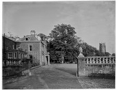 view [Miscellaneous Sites in Somerset, England]: Lydeard House, on West Street in Bishops Lydeard, with the tower of the Church of St. Mary in the distance. digital asset: [Miscellaneous Sites in Somerset, England] [glass negative]: Lydeard House, on West Street in Bishops Lydeard, with the tower of the Church of St. Mary in the distance.
