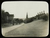view [Chatsworth Estate]: the estate village of Edensor, looking toward St. Peter's Church. digital asset: [Chatsworth Estate] [lantern slides]: the estate village of Edensor, looking toward St. Peter's Church.