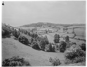 view [Miscellaneous Sites in Branscombe, Devon, England]: looking toward the village from Stockham's Hill. digital asset: [Miscellaneous Sites in Branscombe, Devon, England] [glass negative]: looking toward the village from Stockham's Hill.