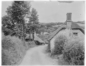 view [Miscellaneous Sites in Branscombe, Devon, England]: looking down Locksey's Lane toward the Branscombe Forge (on the left). digital asset: [Miscellaneous Sites in Branscombe, Devon, England] [glass negative]: looking down Locksey's Lane toward the Branscombe Forge (on the left).