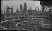 view [Franco-British Exhibition, 1908]: the Elite Gardens bandstand and seating area, with the British Applied Arts Building in the background. digital asset: [Franco-British Exhibition, 1908] [negative]: the Elite Gardens bandstand and seating area, with the British Applied Arts Building in the background.