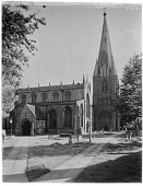 view [St. Mary's Church]: a full view of the church in Long Sutton, Lincolnshire, and its steeple. digital asset: [St. Mary's Church] [glass negative]: a full view of the church in Long Sutton, Lincolnshire, and its steeple.