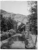 view [Miscellaneous Sites in the Lake District]: looking along the River Rothay at Grasmere. digital asset: [Miscellaneous Sites in the Lake District] [glass negative]: looking along the River Rothay at Grasmere.
