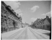"""view [Miscellaneous Sites in Stratford-upon-Avon, Warwickshire, England]: Church Street, looking toward Guild Chapel in the far right distance, with novelist Marie Corelli's home, """"Mason Croft,"""" in the left foreground. digital asset: [Miscellaneous Sites in Stratford-upon-Avon, Warwickshire, England] [glass negative]: Church Street, looking toward Guild Chapel in the far right distance, with novelist Marie Corelli's home, """"Mason Croft,"""" in the left foreground."""