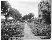 view [Gravetye Manor]: looking along a garden walkway with the house on the right. digital asset: [Gravetye Manor] [glass negative]: looking along a garden walkway with the house on the right.
