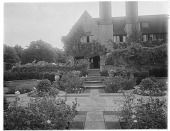 view [Orchards]: looking toward the house along an axis in the Dutch Garden, a more formal garden. digital asset: [Orchards] [glass negative]: looking toward the house along an axis in the Dutch Garden, a more formal garden.