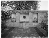 view [Orchards]: the lion's head wall fountain at the end of the Dutch Garden. digital asset: [Orchards] [glass negative]: the lion's head wall fountain at the end of the Dutch Garden.