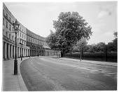 view [Miscellaneous Sites in London, England]: Park Crescent, designed by architect John Nash, with the Crescent Gardens to the right. digital asset: [Miscellaneous Sites in London, England] [glass negative]: Park Crescent, designed by architect John Nash, with the Crescent Gardens to the right.