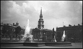 view [Miscellaneous Sites in London, England]: Trafalgar Square, with the church of St. Martin-in-the-Fields in the background. digital asset: [Miscellaneous Sites in London, England] [negative]: Trafalgar Square, with the church of St. Martin-in-the-Fields in the background.