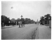 view [Miscellaneous Sites in London, England]: Marylebone Road at its intersection with Park Crescent (right) and Park Square West (left), with Holy Trinity Church, Marylebone, in the far distance. digital asset: [Miscellaneous Sites in London, England] [glass negative]: Marylebone Road at its intersection with Park Crescent (right) and Park Square West (left), with Holy Trinity Church, Marylebone, in the far distance.