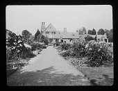 view [Orchard Farm]: house and perennial borders. digital asset: [Orchard Farm] [lantern slide]: house and perennial borders.