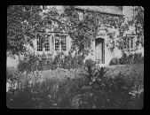 view [Bannits]: back of the house, with part of the garden. digital asset: [Bannits] [lantern slide]: back of the house, with part of the garden.