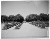view [Versailles]: part of the gardens, with the Fountain of the Pyramid in the distance. digital asset: [Versailles] [glass negative]: part of the gardens, with the Fountain of the Pyramid in the distance.
