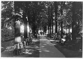 view [Luxembourg Gardens]: walkway and seating area, with part of the Dancing Faun sculpture by Eugène-Louis Lequesne barely visible in the far left distance. digital asset: [Luxembourg Gardens] [glass negative]: walkway and seating area, with part of the Dancing Faun sculpture by Eugène-Louis Lequesne barely visible in the far left distance.