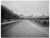 view [Fontainebleau]: the formal gardens, with the château in the background. digital asset: [Fontainebleau] [glass negative]: the formal gardens, with the château in the background.