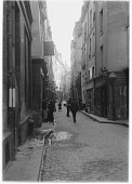 view [Miscellaneous Sites in France, Series 1]: the Rue de Bièvre, with the dome of the Panthéon barely visible in the distance. digital asset: [Miscellaneous Sites in France, Series 1] [glass negative]: the Rue de Bièvre, with the dome of the Panthéon barely visible in the distance.
