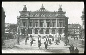 view [Miscellaneous Sites in France, Series 1]: the Place de l'Opera and the opera house, with stairs to the Metro in the foreground. digital asset: [Miscellaneous Sites in France, Series 1] [lantern slide]: the Place de l'Opera and the opera house, with stairs to the Metro in the foreground.
