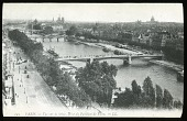 view [Miscellaneous Sites in France, Series 1]: bird's eye view of Paris with bridges along the Seine. digital asset: [Miscellaneous Sites in France, Series 1] [lantern slide]: bird's eye view of Paris with bridges along the Seine.